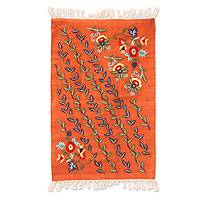 Embroidered cotton area rug, 'Spring in Agra' (2x3) - Orange Floral Embroidered Cotton Area Rug (2x3)