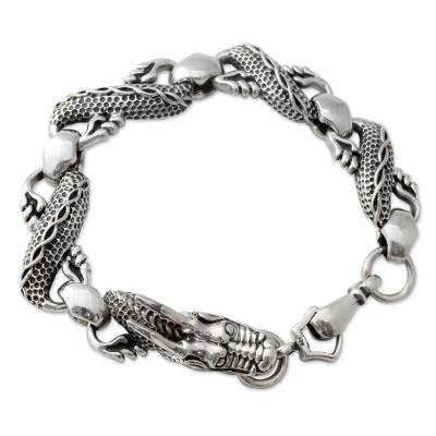 Artisan Crafted Infinity Symbol Sterling Silver Dragon Link Bracelet