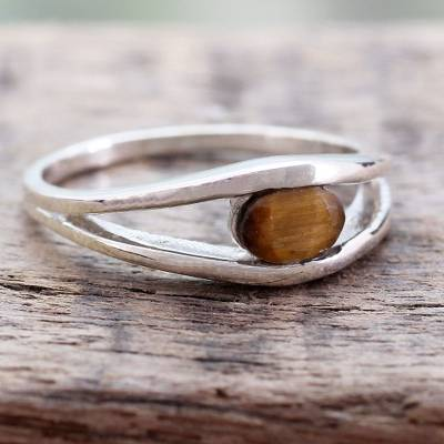 Tiger's eye band ring, 'Nature's Eye' - Tiger's Eye Band Ring Crafted by Indian Artisans