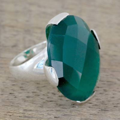 rings movie amazon - Cocktail Ring with 10 Carat Green Onyx Gemstone