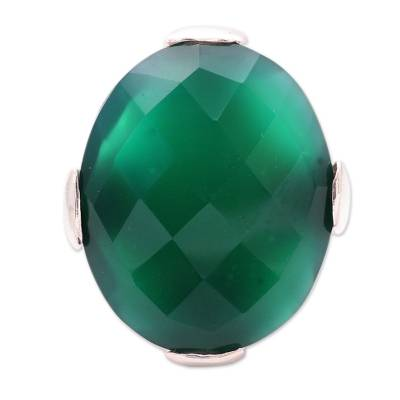 Cocktail Ring with 10 Carat Green Onyx Gemstone