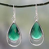 Green onyx dangle earrings, 'Delhi Glam' - Teardrop Shaped Green Onyx Dangle Earrings