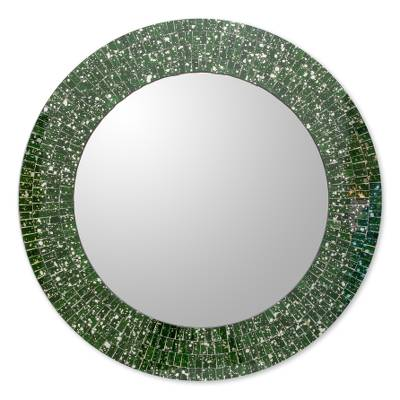 Green Glass Mosaic Round Wall Mirror Crafted by Hand