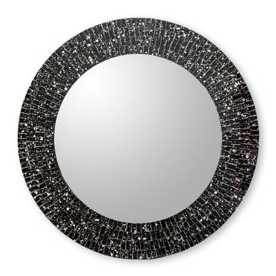 Hand Crafted Black Glass Mosaic Round Wall Mirror