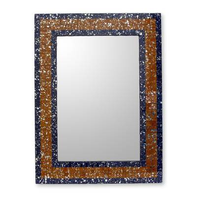 Brown Silver and Blue Glass Mosaic Wall Mirror from India