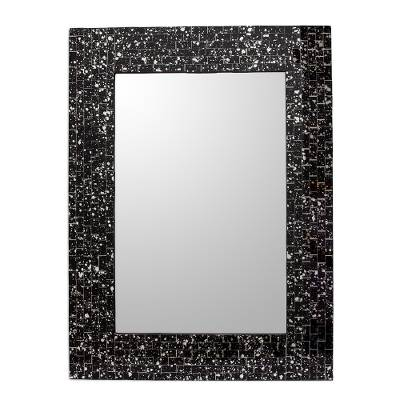 Hand Crafted Glass Mosaic Mirror Frame in Black and Silver