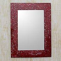 Mosaic glass mirror, 'Crimson Cosmos' - Red Rectangular Glass Mosaic Mirror with Frame from India