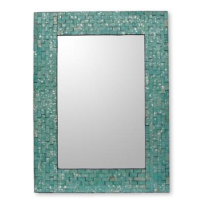 Glass mosaic wall mirror, 'Aqua Cosmos' - Wall Mirror and Frame Handcrafted with Aqua Mosaics