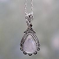 Rainbow moonstone pendant necklace, 'Moonlight Glamour' - Ornate Handcrafted Sterling Silver Necklace with Moonstone