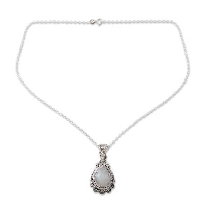 Ornate Handcrafted Sterling Silver Necklace with Moonstone