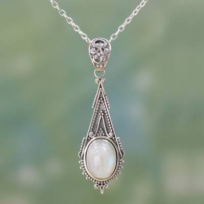 Rainbow moonstone pendant necklace, 'Moonlight Radiance' - Handcrafted Moonstone Sterling Silver Necklace
