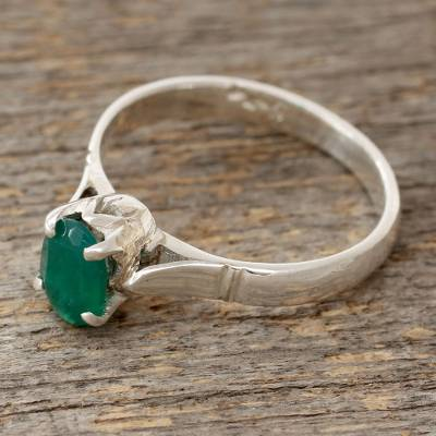 Green onyx solitaire ring, 'Solitary Allure' - Sterling Silver Ring with Green Onyx Solitaire