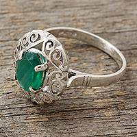 Green onyx cocktail ring, 'Festivity in Green' - Jali Style Silver Cocktail Ring with Green Onyx