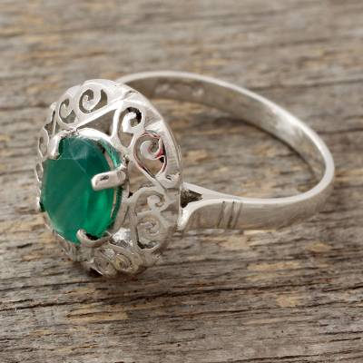 unique jewelry ring boxes - Jali Style Silver Cocktail Ring with Green Onyx