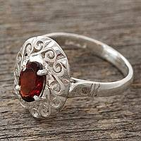 Garnet cocktail ring, 'Festivity in Red' - Artisan Crafted Garnet Ring in Sterling Silver