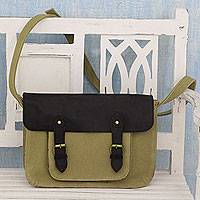Leather accent cotton messenger bag, 'Casual in Khaki' - Khaki Canvas Messenger Bag with Black Leather Trim