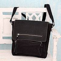 Leather accent cotton messenger bag, 'Black Pockets Aplenty' - Black Leather and Canvas Messenger Bag with 8 Pockets