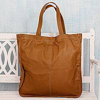 Leather tote handbag, 'Delhi Butterscotch' - Oversized Butterscotch Brown Leather India Tote Handbag