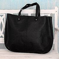 Leather tote handbag, Mumbai Midnight - India Large Open Unlined Black Leather Tote Handbag
