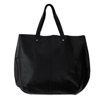 Leather tote handbag, 'Mumbai Midnight' - India Large Open Unlined Black Leather Tote Handbag