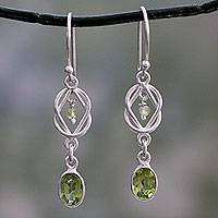 Peridot dangle earrings, 'Lime Knot'