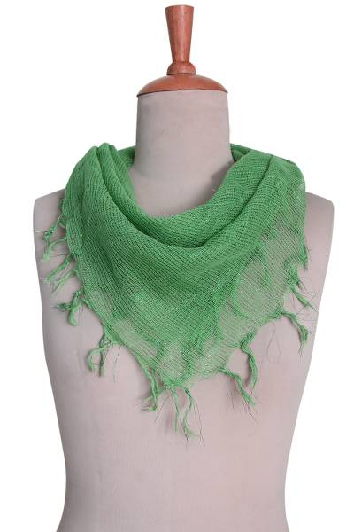 Cotton blend scarf, 'Jade Fantasy' - Hand Woven Green Cotton Gauze Scarf from India