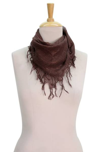 Cotton blend scarf, 'Silvery Nights' - Hand Woven Brown Cotton Scarf with Glistening Brown Accents
