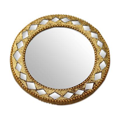 Golden Pocket Mirror for Handbag Artisan Crafted in India