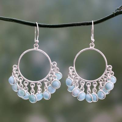 Larimar chandelier earrings, 'Playful Petals' - Handmade Larimar and Sterling Silver Chandelier Earrings