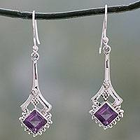 Amethyst dangle earrings, 'Modern Jaipur' - Indian Artisan Amethyst Dangle Earrings in Sterling Silver