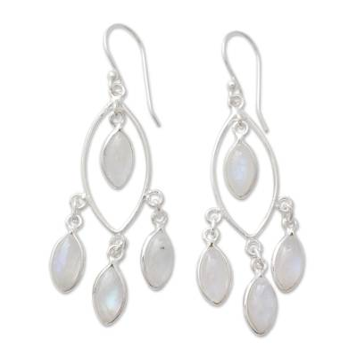 Rainbow Moonstone and Sterling Silver Chandelier Earrings