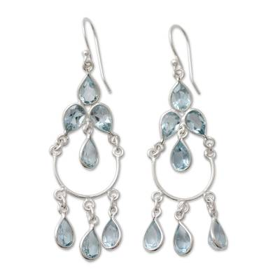 Blue topaz chandelier earrings, 'Azure Elegance' - Blue Topaz Handcrafted Sterling Silver Chandelier Earrings