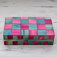 Wood inlay box, 'Jaipuri Rose' - India Teal and Pink Handcrafted Wood Inlay Decorative Box