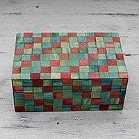 Wood inlay box, 'Delhi Cubist' - India Handcrafted Red and Green Wood Inlay Decorative Box