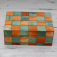 Wood inlay box, 'Mumbai Cubist' - Orange and Teal Checkerboard Motif Wood Inlay Decorative Box