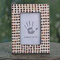 Recycled pencil photo frame, 'Color Me Eco-Friendly' (4x6) - Artisan Eco Friendly Photo Frame with Recycled Pencils
