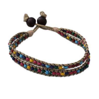 Beaded jute bracelet, 'Confetti Rows' - Jute Wristband Bracelet with Multicolored Beads