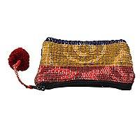 Recycled sari coin purse, 'Burgundy Festivity' - Artisan Crafted Change Purse Made from Recycled Saris