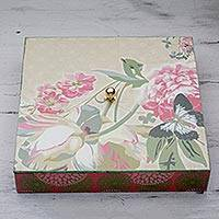 Decoupage box, 'Pink Peony' - Handcrafted Pink Flower Theme Decoupage Box from India