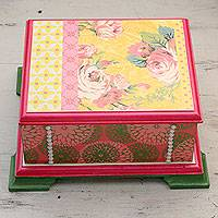 Decoupage box, 'Pink Rose Bouquet' - India Handcrafted Decoupage Box with Pink Roses