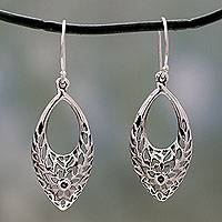 Sterling silver dangle earrings, 'Jali Blossoms' - Sterling Silver Earrings from India with Flowers and Foliage