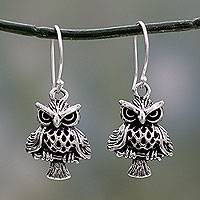 Sterling silver dangle earrings, 'Owl at Midnight' - Unique Bird Theme Sterling Silver Owl Dangle Earrings
