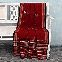 Handwoven throw blanket, 'Red Gujarat Romance' - India Handwoven Deep Red Acrylic Throw Blanket