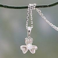Rainbow moonstone pendant necklace, 'Cradle Lily' - Floral Sterling Silver and Rainbow Moonstone Necklace