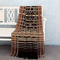 Cotton throw, 'Jodhpur Night' - Cotton Geometric Handwoven Cotton Thrown in Black and Browns