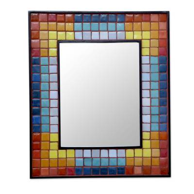 Handcrafted Ceramic Mosaic Wall Mirror in Rainbow Colors