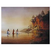 Giclee print on canvas, 'Banaras Ghat I' by Amit Bhar - Color Archival Giclee Print on Canvas of the Ghat in Banaras
