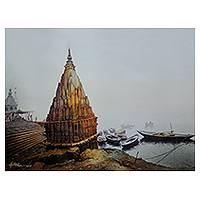 Giclée print on canvas, 'Banaras Ghat III' by Amit Bhar - Collectible India Fine Art Color Archival Print on Canvas