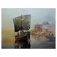 Giclée print on canvas, 'Banaras Ghat IV' by Amit Bhar - India Landscape Color Archival Art Print on Canvas