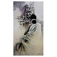 Gicl�e print, 'Radha Krishna' by Amit Bhar - Collectible India Hindu Fine Art Archival Print